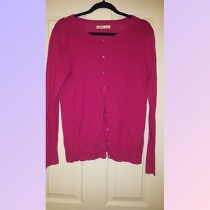 Pink cardigan sweater crystal buttons